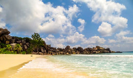 Grand Anse on La Digue island in Seychelles Royalty Free Stock Photo