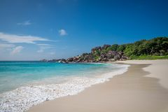 Grand anse. In La Digue, Seychelles Stock Photo