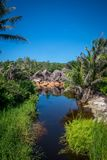 Grand anse. In La Digue, Seychelles Royalty Free Stock Photography