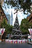 Grand arbre de Noël civique, Martin Place, Sydney, Australie Image libre de droits
