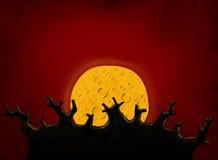 Grand arbre et pleine lune Photographie stock libre de droits