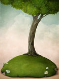Grand arbre sur la pelouse. illustration libre de droits