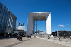 Grand Arch de la Defense, modern business and financial district in Paris, France. royalty free stock photography