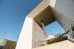 Grand Arch in La Defense region of Paris stock image