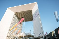 Grand Arch in La Defense region of Paris royalty free stock image