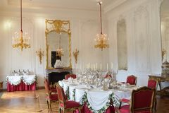 Grand aristocratic Dining Table. In stately home Royalty Free Stock Photos