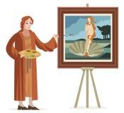 Grand artiste italien de la Renaissance peignant une femme rousse de venus dans une coquille illustration stock