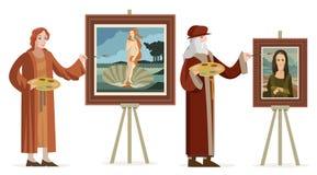 Grand artiste italien de la Renaissance peignant une femme rousse de venus dans une coquille et un portrait femelle de femme Photographie stock libre de droits