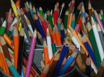 A rainbow selection of coloring pencils. A grand assortment of colorful drawing pencis Royalty Free Stock Photos