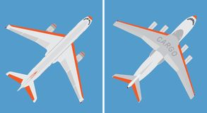 Grand avion d'avion commercial et de cargaison d'isolement sur le fond bleu illustration libre de droits