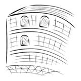 Grand bâtiment, croquis noir abstrait sur le fond blanc illustration stock
