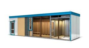 Grand bâtiment de récipient pour des travailleurs dans une coupe avec une suffisance intérieure Photographie stock libre de droits