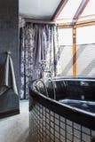 Grand bain dans la salle de bains peu commune Image stock
