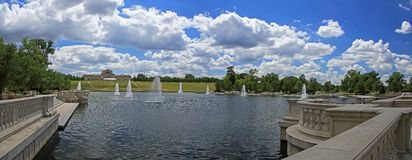Grand Basin in Forest Park. Lake built for 1904 World's Fair in Forest Park, St. Louis, Missouri Royalty Free Stock Image