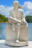 Grand Bassin Mauritius. Monk statue Stock Photo
