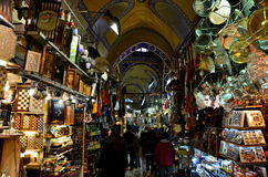 The Grand Bazaar. Inside the Grand Bazaar in Istanbul. The grand bazaar began construction in 1455 and opened in 1461. It is well known for its jewelry, pottery stock images