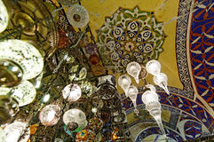Grand Bazaar ceiling in Istanbul. Chandeliers or hanging lamps and an ornate ceiling in the Grand Bazaar, Istanbul, Turkey royalty free stock photo