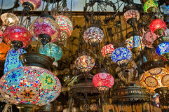 Grand Bazaar at Istanbul. Crystal lamps for sale on the Grand Bazaar at Istanbul Royalty Free Stock Photos