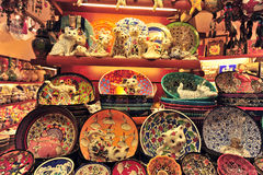 Grand Bazaar Istanbul. Handmade Turkish plates at the Grand Bazaar for sale, Kapalicarci, Istanbul, Turkey royalty free stock photography