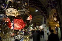 Grand Bazaar Istanbul - Turkish lantern souvenirs Stock Images