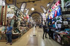 Shops in The Grand Bazaar, one of the oldest shopping mall in history. This market is in Istanbul, Turkey royalty free stock photos