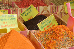 Grand bazaar shops in Istanbul. Turkey. Grand bazaar shops with asian spices in Istanbul. Turkey Royalty Free Stock Photo