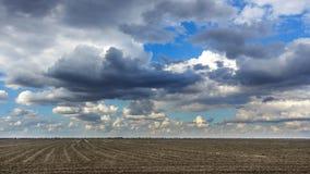 Grand beau ressort le champ avec une sorte éloignée sur une forêt et un ciel foncé Photographie stock