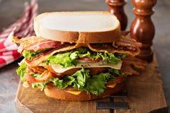 Grand BLT, laitue de lard et sandwich à tomate image libre de droits