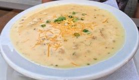 Grand bol blanc de soupe à patate chaude Photographie stock libre de droits