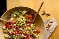 Grand bol de salade et de pois chiches Photographie stock libre de droits