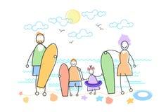 Grand bord de la mer de mer de vacances de famille tenant des conseils de planche à voile illustration libre de droits