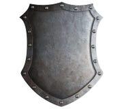 Grand bouclier médiéval en métal d'isolement Images libres de droits