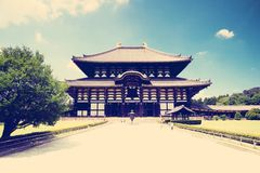 Grand Bouddha Hall (Daibutsuden) de Todai-JI (grand temple oriental), Nara Images stock