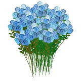 Grand bouquet of blue roses, for a meeting or celebration. Vecto Royalty Free Stock Images