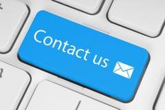 Grand bouton bleu de contactez-nous Images libres de droits