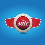 Grand bouton bleu rouge de vente avec des ailes Photographie stock libre de droits