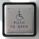 Grand bouton poussoir à la porte ouverte Images libres de droits