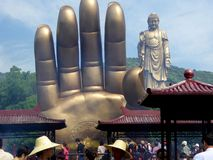 Grand Buddha statue and hand at Lingshan Royalty Free Stock Images