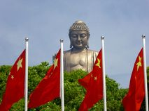 Grand Buddha statue at Lingshan with flags in the front Stock Image