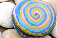 Grand caillou rond avec des spirales Photographie stock libre de droits