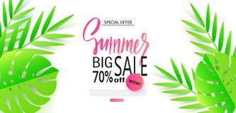 Grand calibre de bannière de vente d'été avec les feuilles tropicales Illustration de vecteur illustration de vecteur