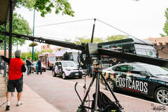 Grand camion de course de nourriture avec Tyler Florence Photos libres de droits