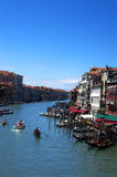 Grand Canal. Boats and gondolas on the Grand Canal, Venice, Italy Royalty Free Stock Image