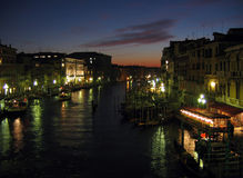 Grand Canal. From the Rialto at night, Venice stock photos
