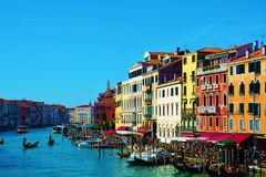 Grand Canal against the blue sky, in Venice, Italy, Europe Royalty Free Stock Images