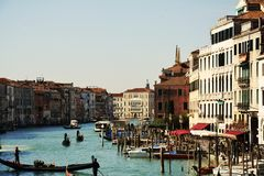 Grand Canal against the blue sky, vintage hues, in Venice, Italy, Europe Stock Photo