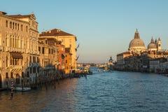 Grand canal and Basilica di Santa Maria della Salute in Venice Royalty Free Stock Photos