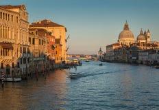 Grand canal and Basilica di Santa Maria della Salute in Venice Stock Images