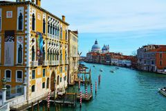 Grand Canal and Basilica of Saint Mary of Health, in Venice, Italy, Europe Stock Photography