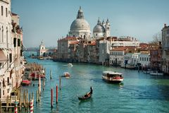 Grand Canal and Basilica Santa Maria della Salute Royalty Free Stock Photo